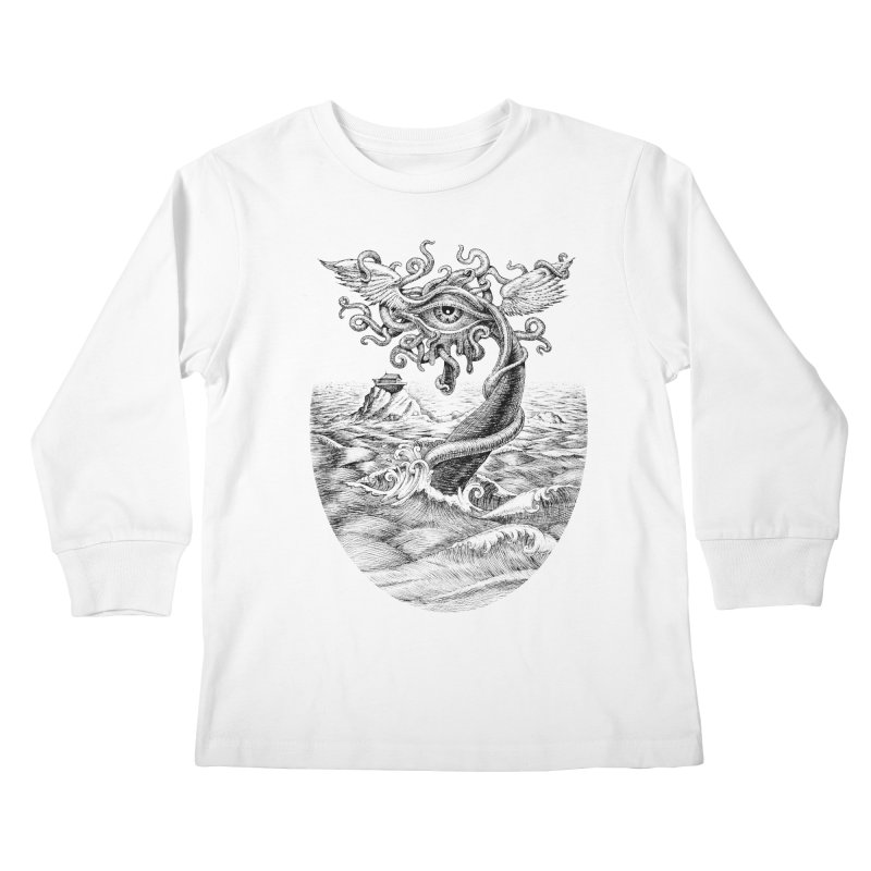 Birth of the Sonic Swan Deity Kids Longsleeve T-Shirt by Jason Brammer's Shop