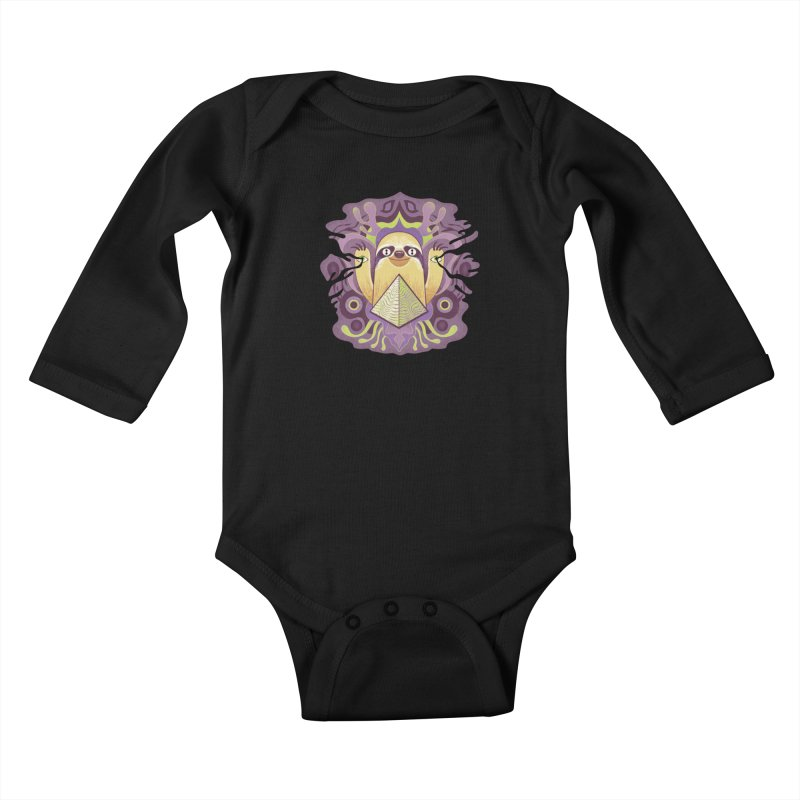Interdimensional sloth Kids Baby Longsleeve Bodysuit by Jason Castillo Illustration