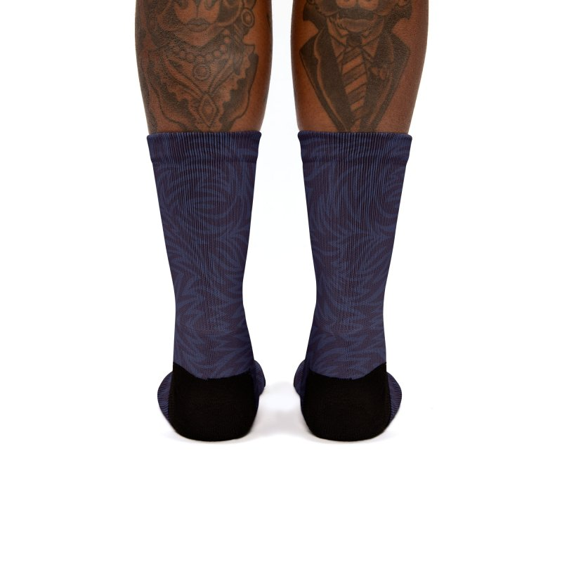 Midnight Blue Trippy Pattern Women's Socks by Jason Castillo Illustration