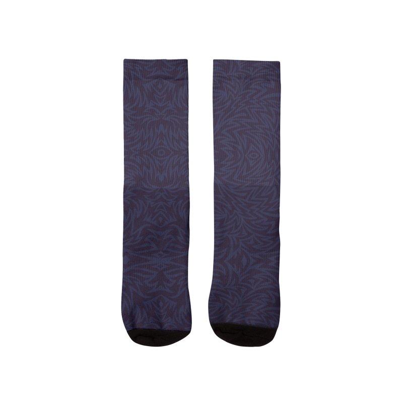 Midnight Blue Trippy Pattern Men's Socks by Jason Castillo Illustration