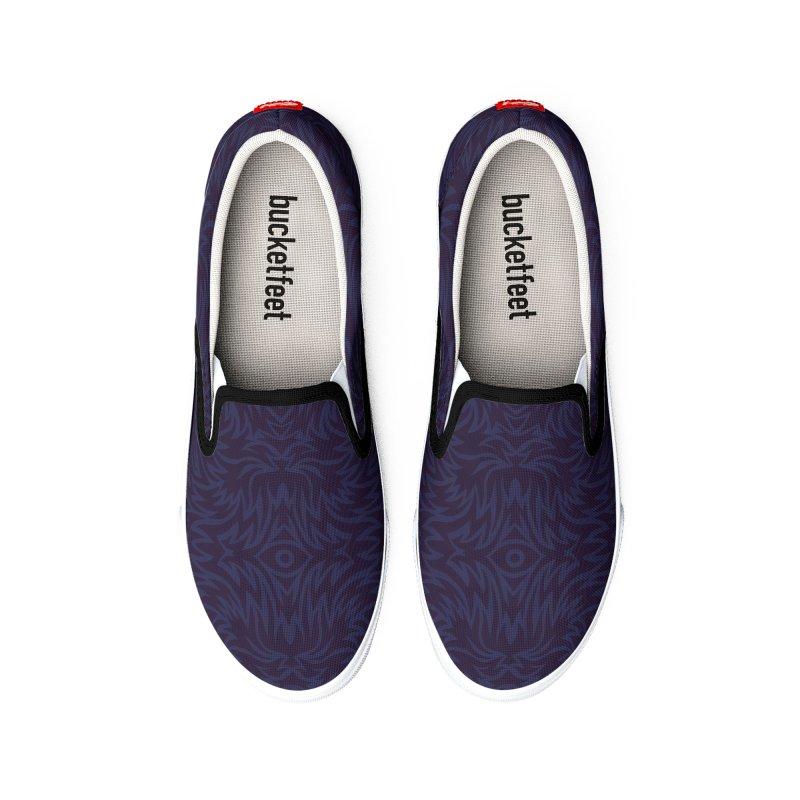 Midnight Blue Trippy Pattern Men's Shoes by Jason Castillo Illustration