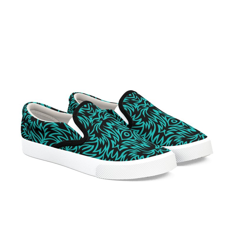 Aqua Trippy Pattern Men's Shoes by Jason Castillo Illustration