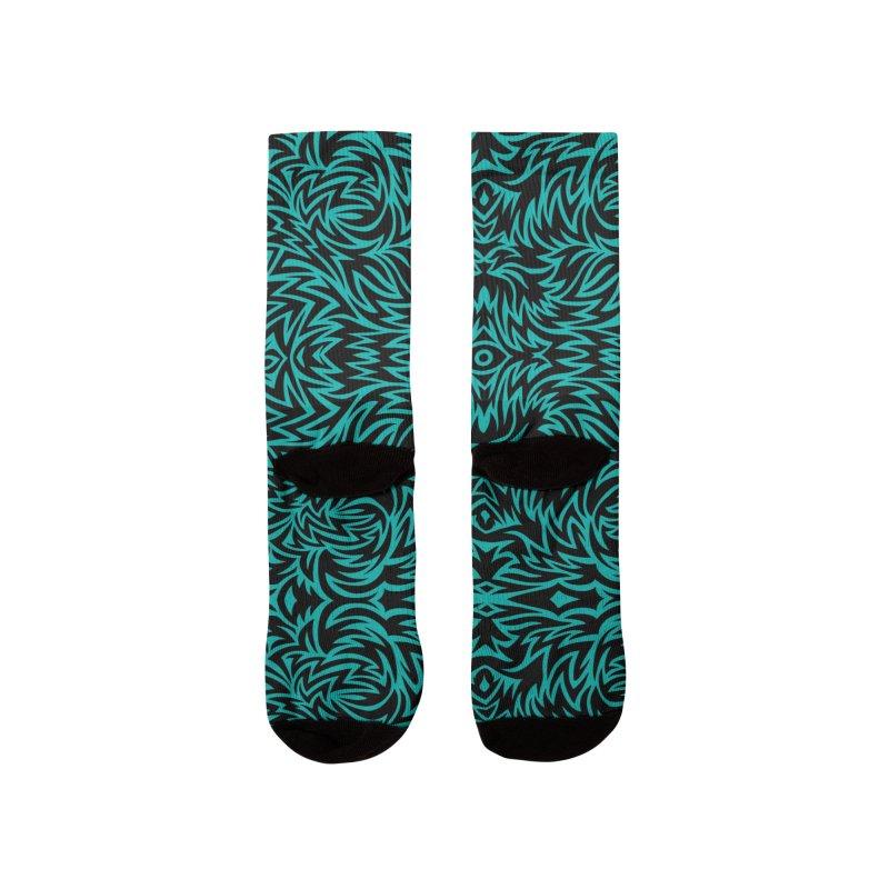 Aqua Trippy Pattern Women's Socks by Jason Castillo Illustration