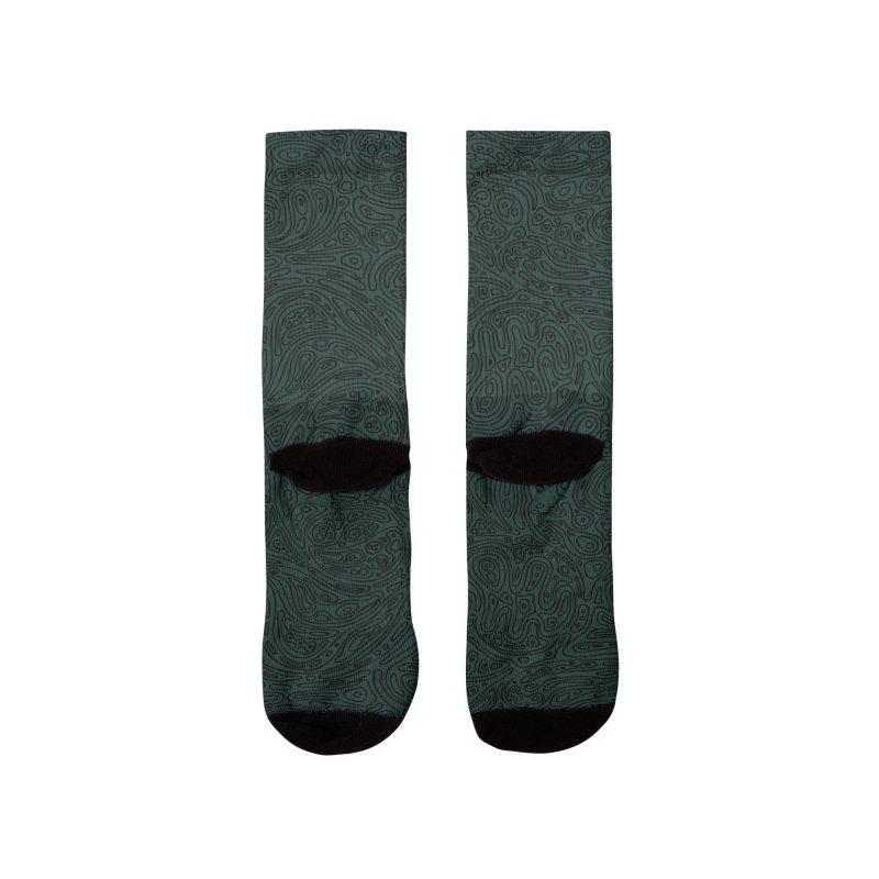 Moss Green Cellular Pattern Women's Socks by Jason Castillo Illustration