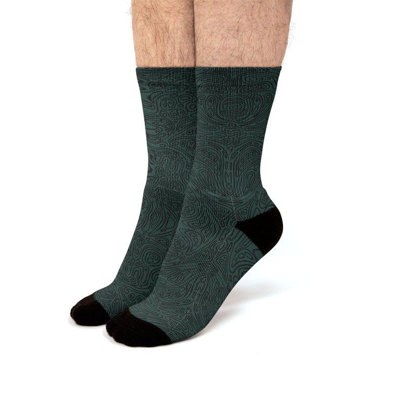Moss Green Cellular Pattern Men's Socks by Jason Castillo Illustration