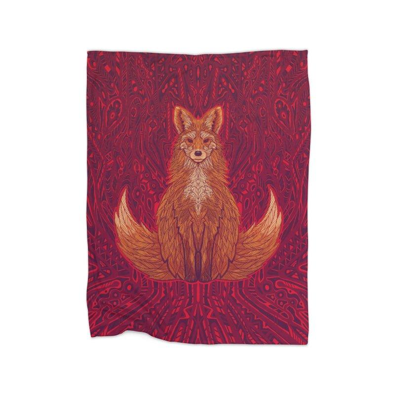 The Red Fox Spirit Home Blanket by Jason Castillo Illustration