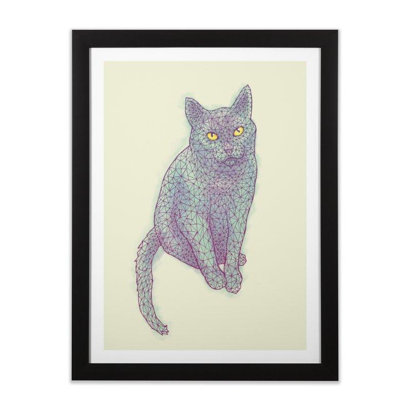 Polycat in Framed Fine Art Print Black by Jason Castillo Illustration