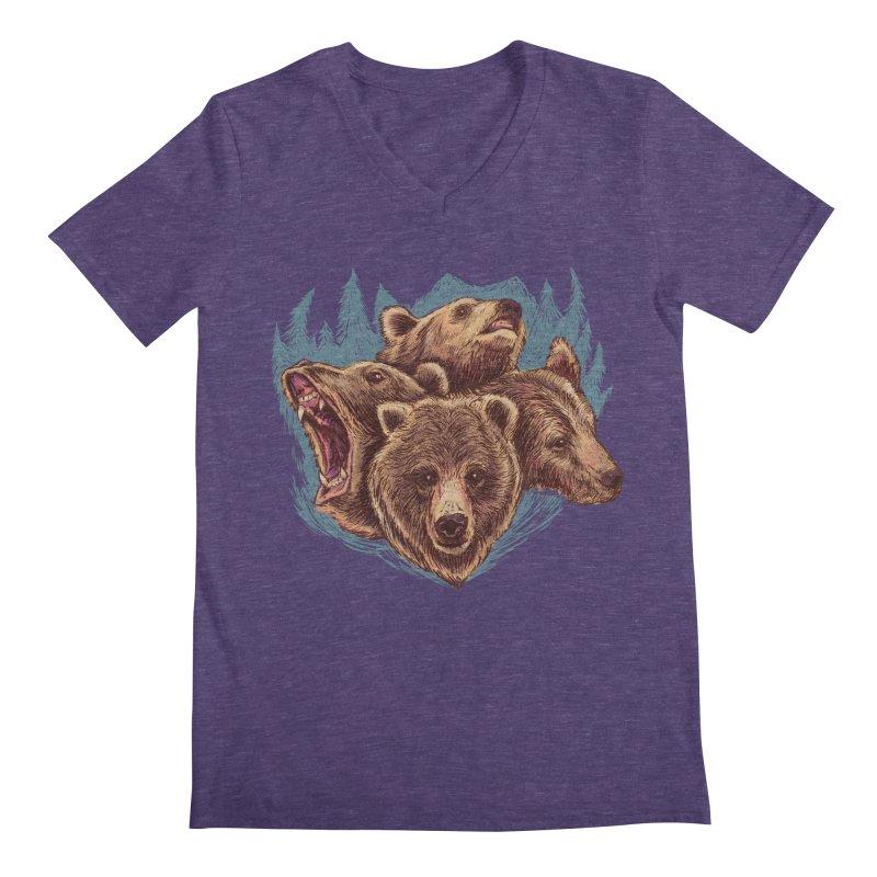 Four Bears Men's Regular V-Neck by Jason Castillo Illustration