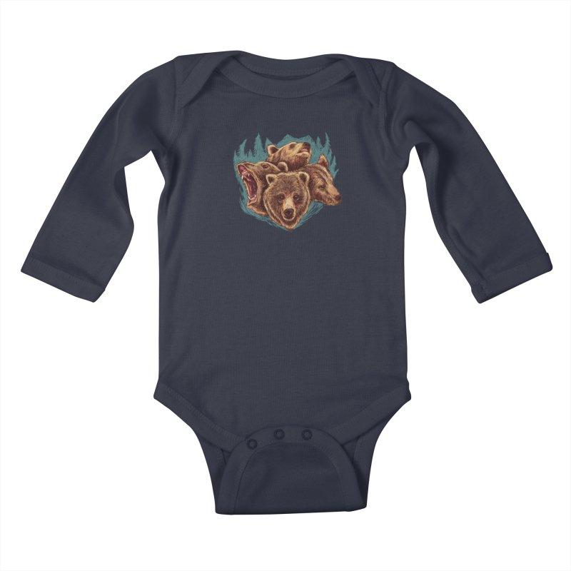 Four Bears Kids Baby Longsleeve Bodysuit by Jason Castillo Illustration