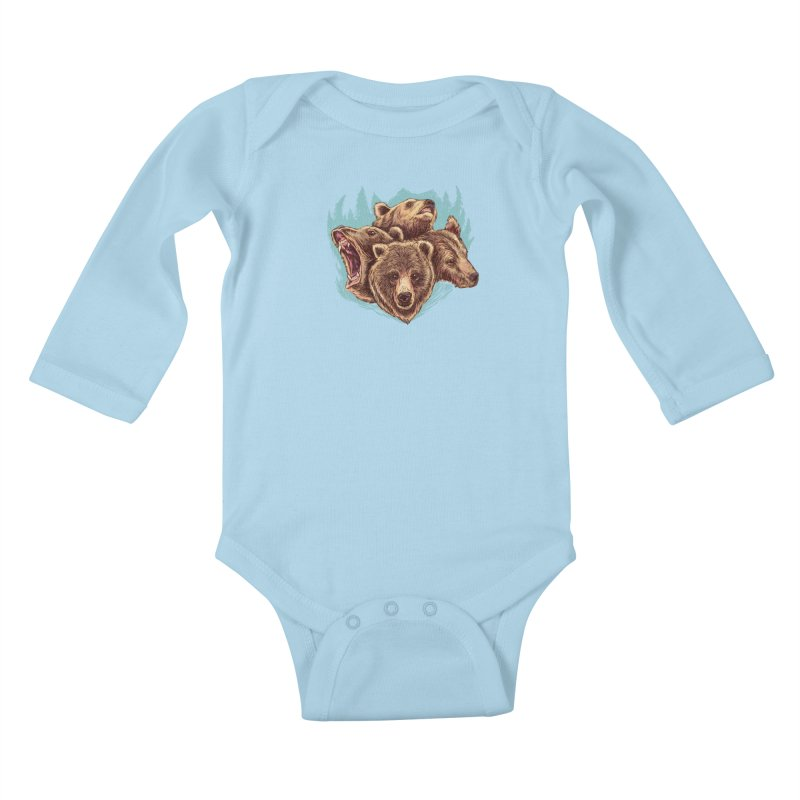 Four Bears Kids Baby Longsleeve Bodysuit by Jason Castillo Illustration