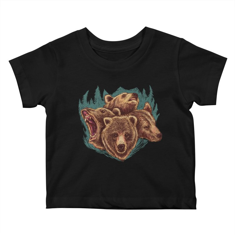 Four Bears Kids Baby T-Shirt by Jason Castillo Illustration
