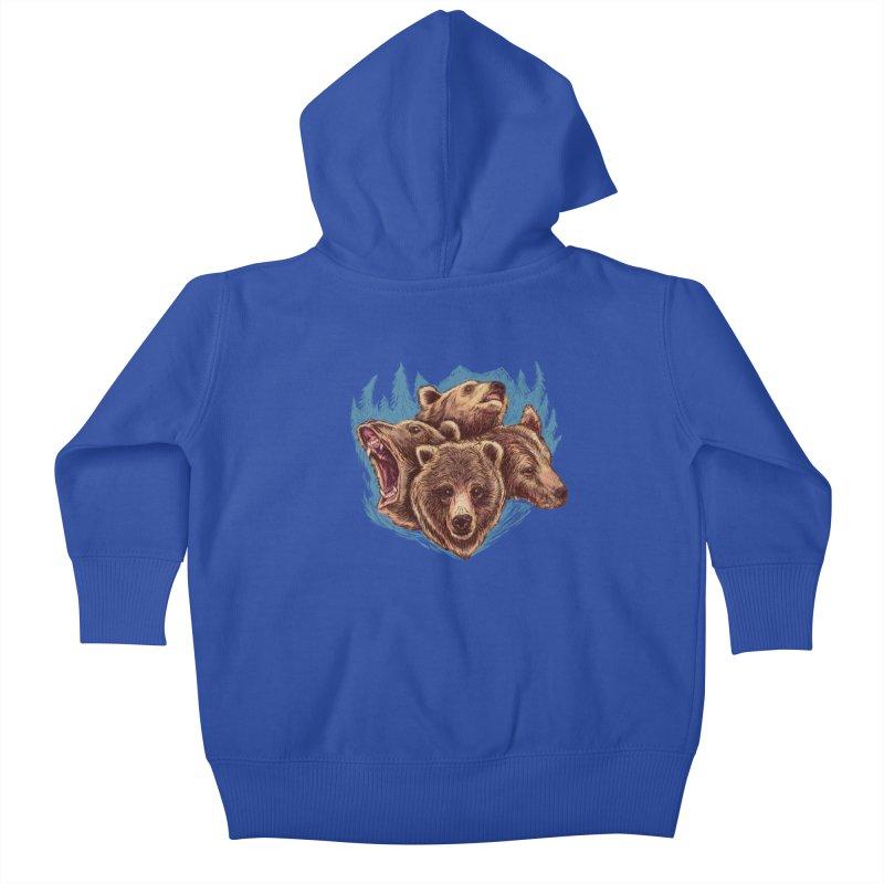 Four Bears Kids Baby Zip-Up Hoody by Jason Castillo Illustration