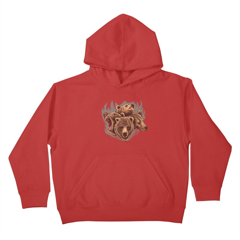 Four Bears Kids Pullover Hoody by Jason Castillo Illustration