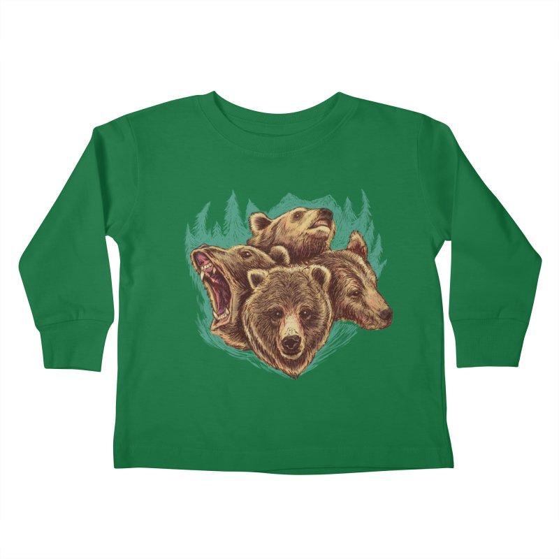 Four Bears Kids Toddler Longsleeve T-Shirt by Jason Castillo Illustration