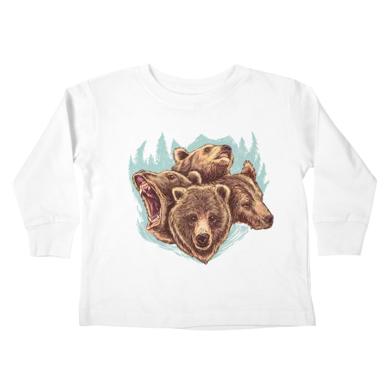 Four Bears Kids Toddler Longsleeve T-Shirt by Jason Castillo Illustration
