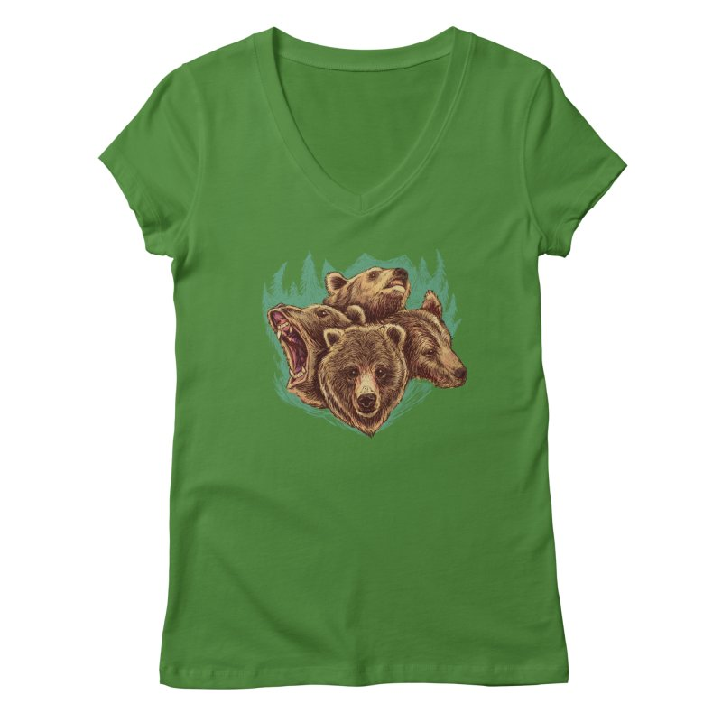 Four Bears Women's Regular V-Neck by Jason Castillo Illustration