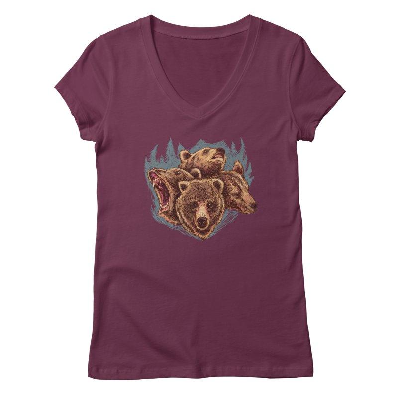 Four Bears Women's Regular V-Neck by Jason Castillo Illustration