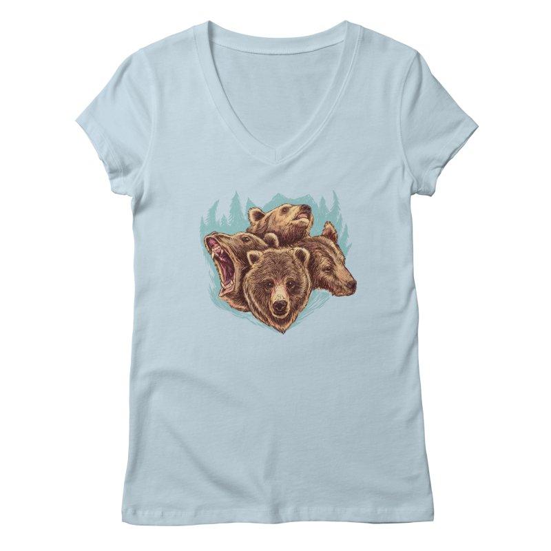 Four Bears Women's V-Neck by Jason Castillo Illustration