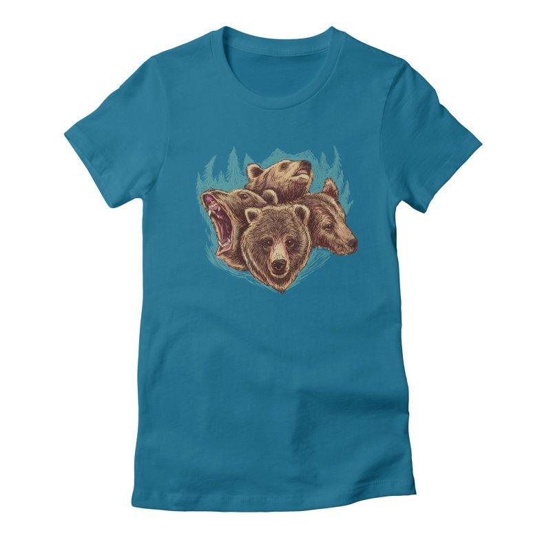 Four Bears Women's Fitted T-Shirt by Jason Castillo Illustration