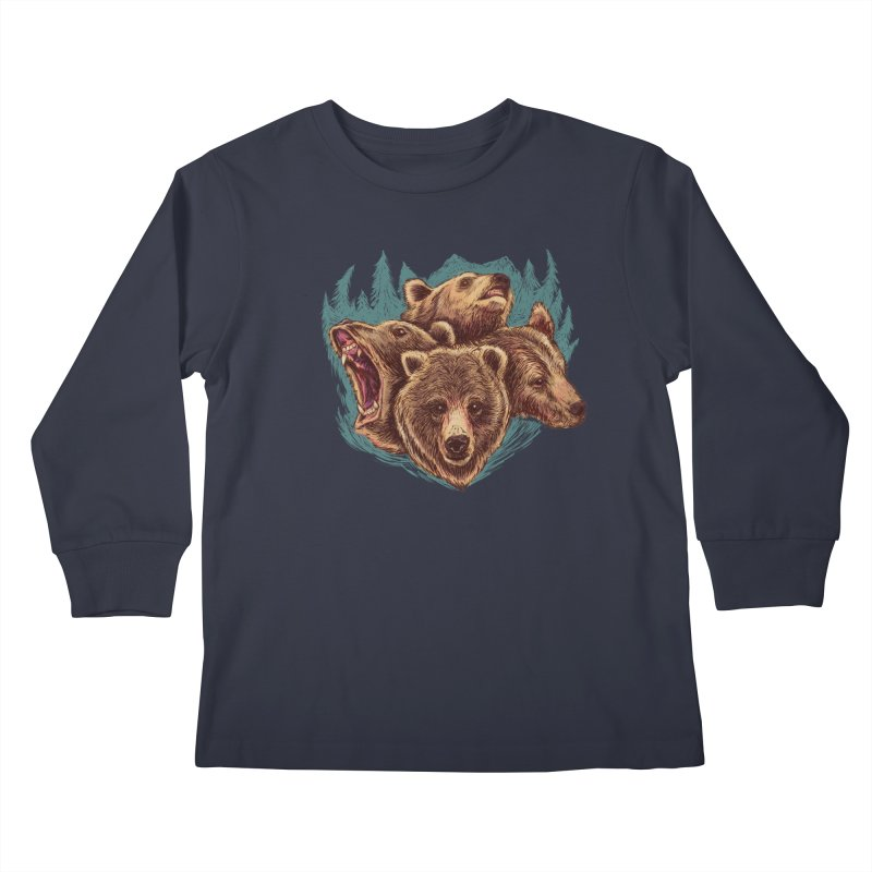 Four Bears Kids Longsleeve T-Shirt by Jason Castillo Illustration