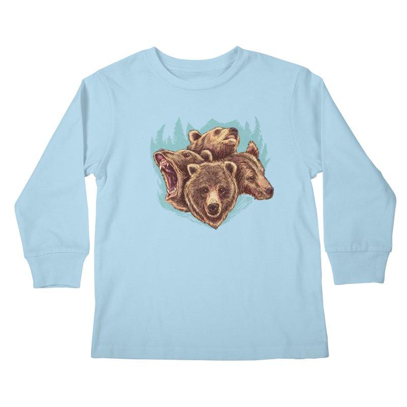 Four Bears Kids Longsleeve T-Shirt by Jason Castillo Illustration