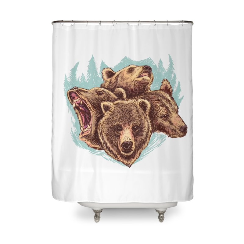Four Bears Home Shower Curtain by Jason Castillo Illustration