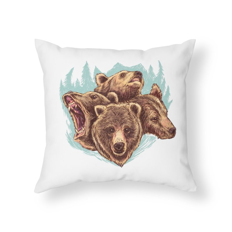 Four Bears Home Throw Pillow by Jason Castillo Illustration