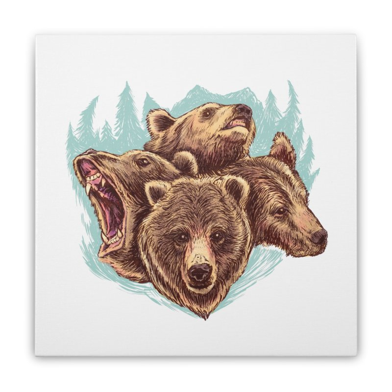 Four Bears Home Stretched Canvas by Jason Castillo Illustration