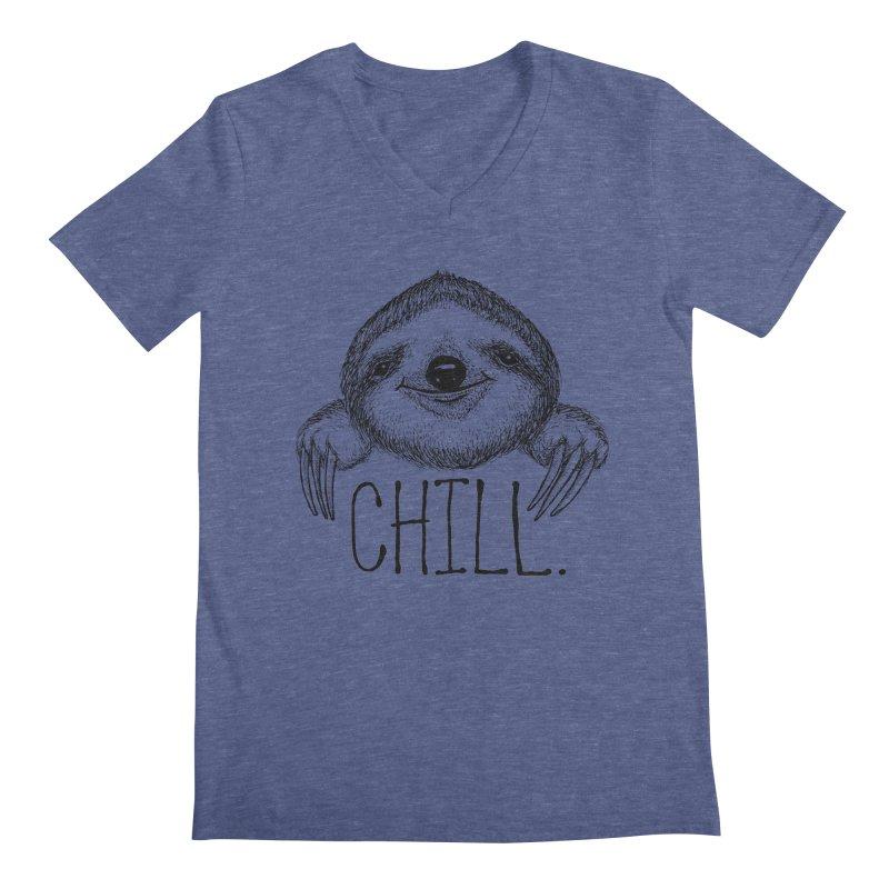 Chillsloth Men's Regular V-Neck by Jason Castillo Illustration