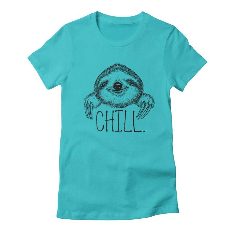 Chillsloth Women's Fitted T-Shirt by Jason Castillo Illustration