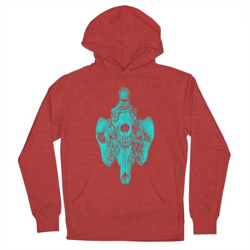 Cyan Coyote Skull Women's French Terry Pullover Hoody by Jason Castillo Illustration