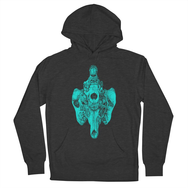 Cyan Coyote Skull Men's French Terry Pullover Hoody by Jason Castillo Illustration