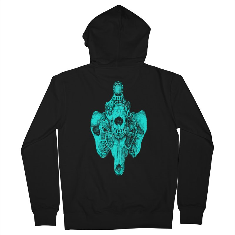 Cyan Coyote Skull Women's French Terry Zip-Up Hoody by Jason Castillo Illustration