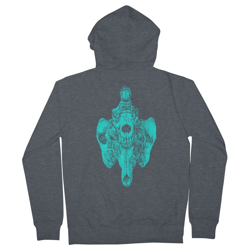 Cyan Coyote Skull Men's French Terry Zip-Up Hoody by Jason Castillo Illustration