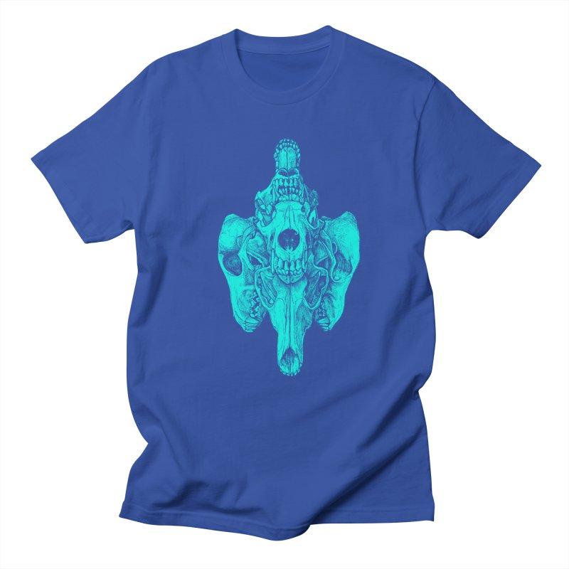 Cyan Coyote Skull Men's T-shirt by Jason Castillo Illustration