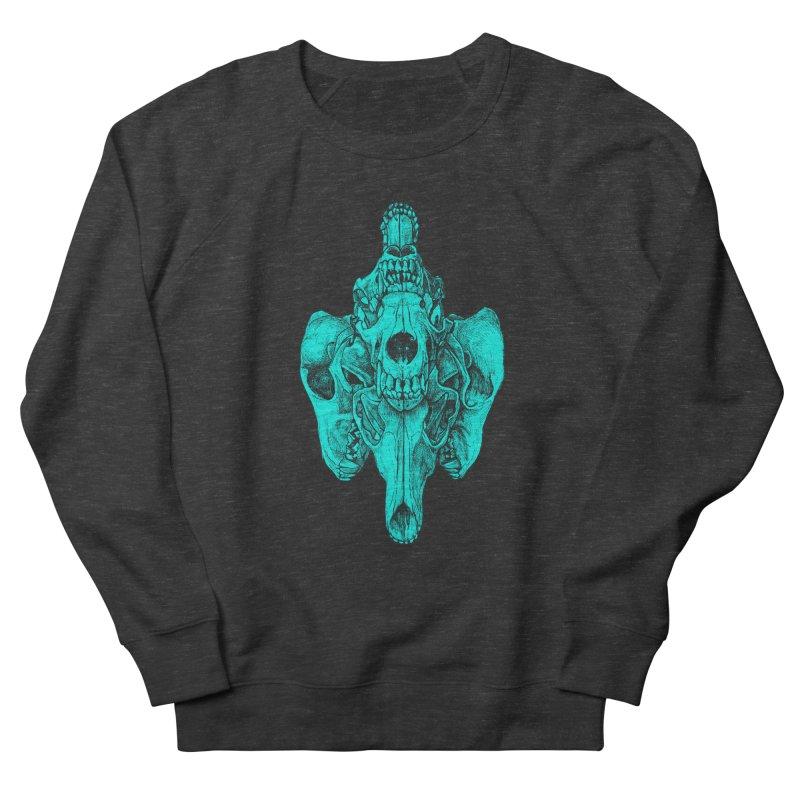 Cyan Coyote Skull Women's French Terry Sweatshirt by Jason Castillo Illustration