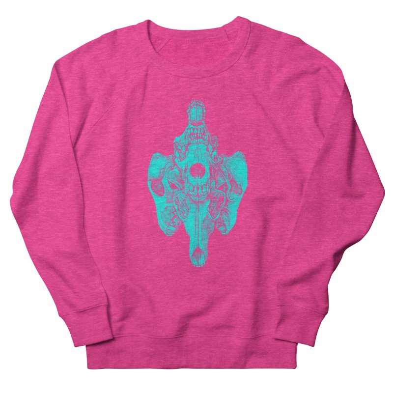 Cyan Coyote Skull Women's Sweatshirt by Jason Castillo Illustration