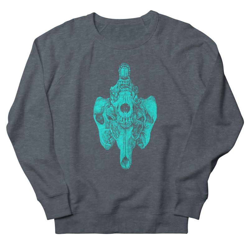 Cyan Coyote Skull Men's French Terry Sweatshirt by Jason Castillo Illustration