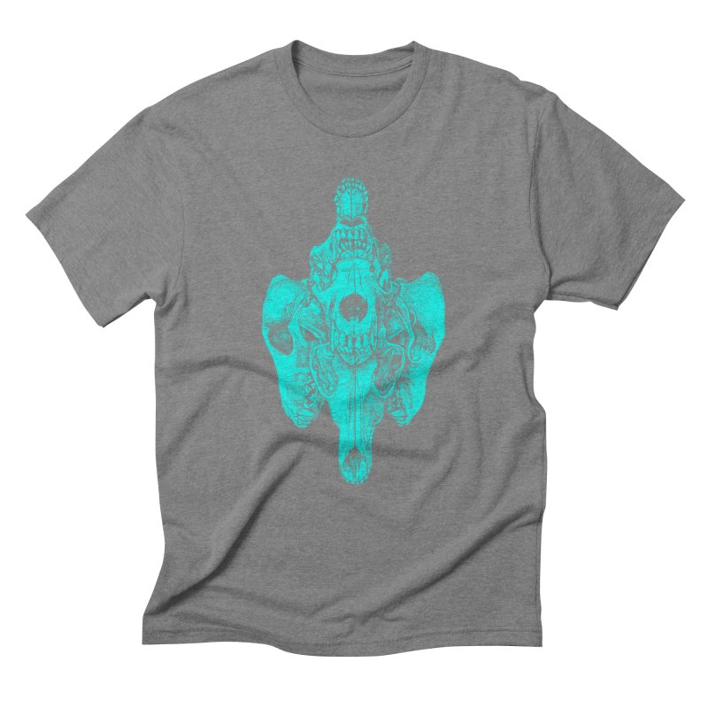 Cyan Coyote Skull Men's Triblend T-Shirt by Jason Castillo Illustration