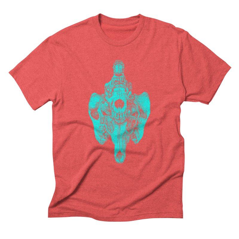 Cyan Coyote Skull Men's Triblend T-Shirt by Jason Castillo Illustration