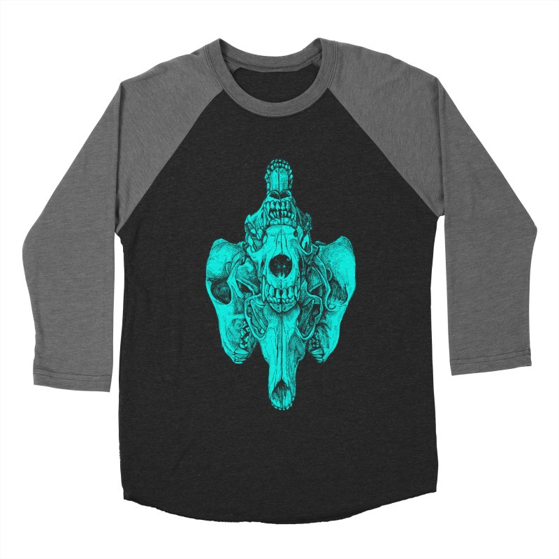 Cyan Coyote Skull Men's Baseball Triblend Longsleeve T-Shirt by Jason Castillo Illustration
