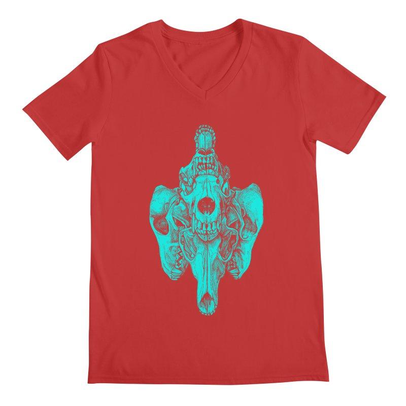 Cyan Coyote Skull Men's Regular V-Neck by Jason Castillo Illustration