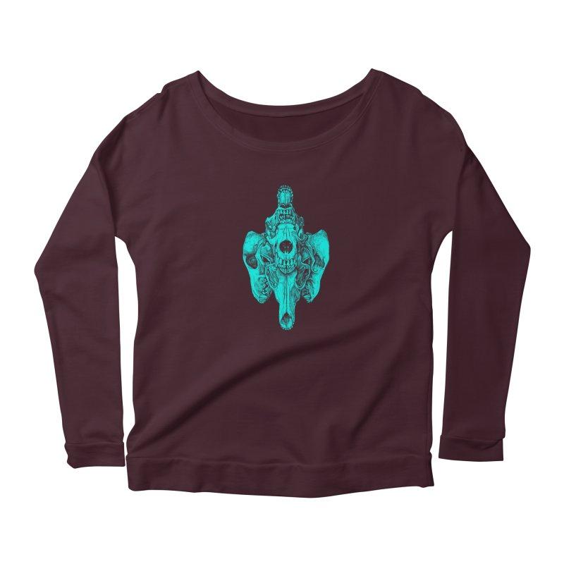 Cyan Coyote Skull Women's Longsleeve T-Shirt by Jason Castillo Illustration