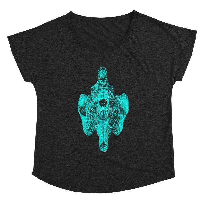 Cyan Coyote Skull Women's Dolman Scoop Neck by Jason Castillo Illustration