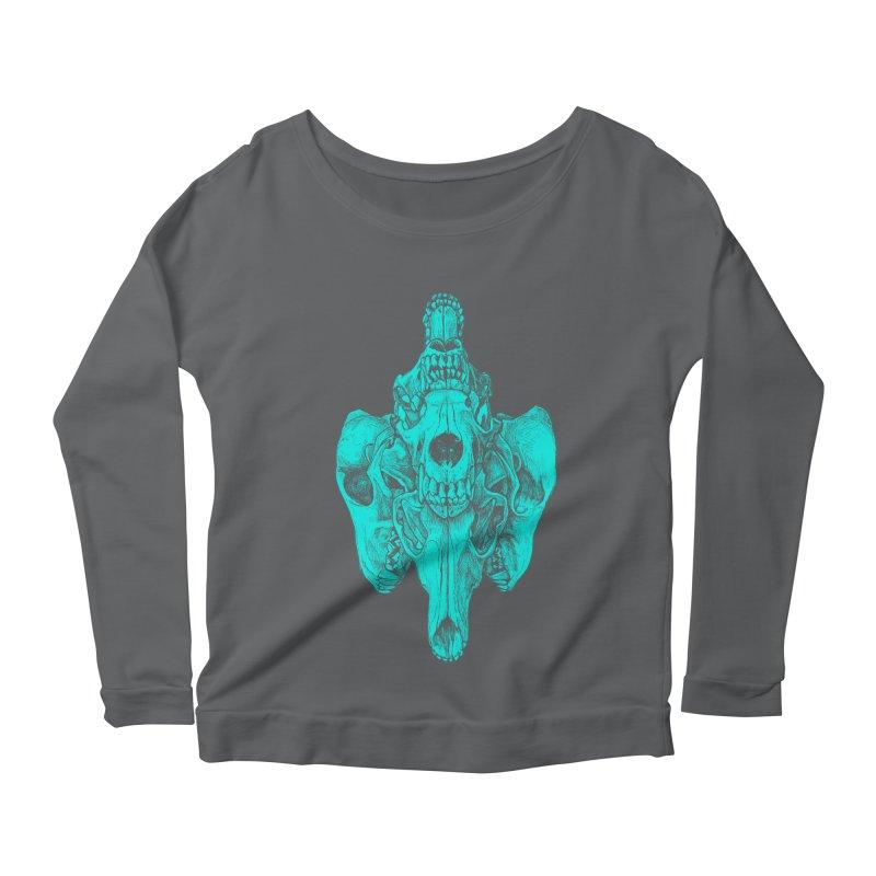 Cyan Coyote Skull Women's Scoop Neck Longsleeve T-Shirt by Jason Castillo Illustration