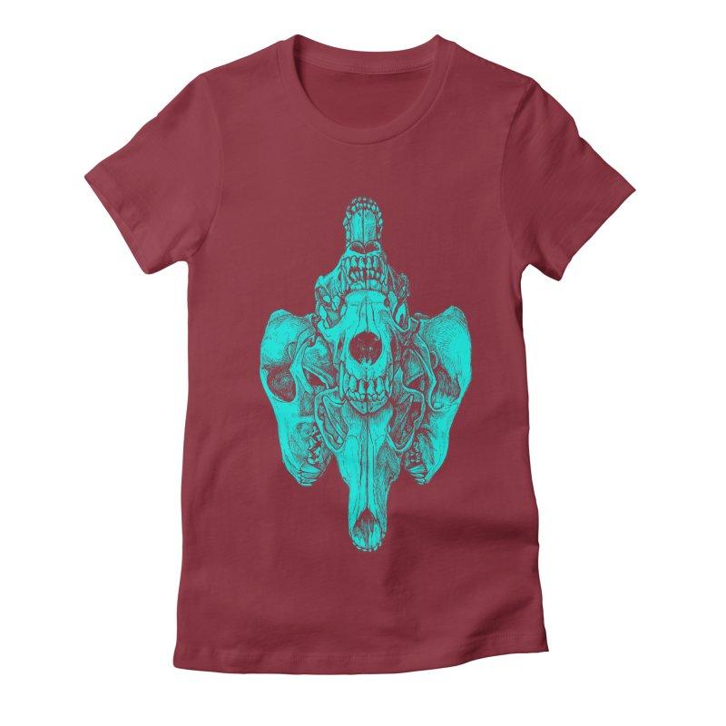 Cyan Coyote Skull Women's Fitted T-Shirt by Jason Castillo Illustration
