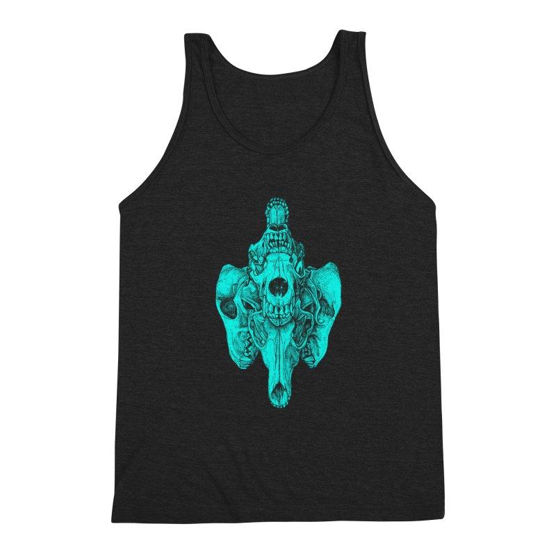 Cyan Coyote Skull Men's Triblend Tank by Jason Castillo Illustration