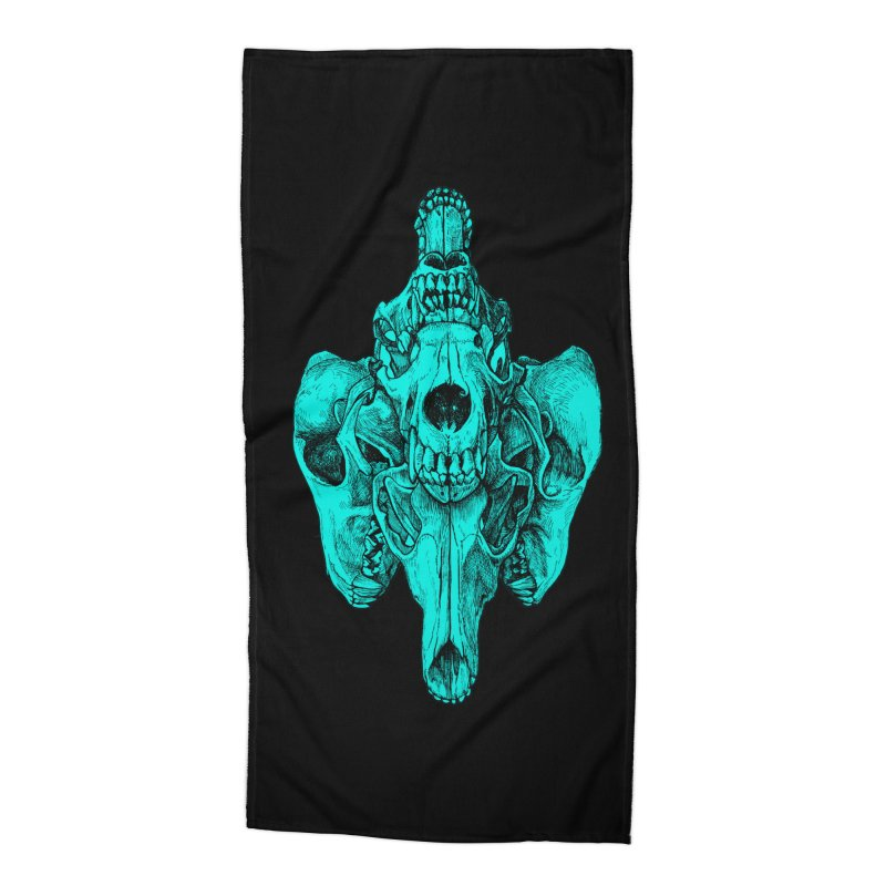 Cyan Coyote Skull Accessories Beach Towel by Jason Castillo Illustration