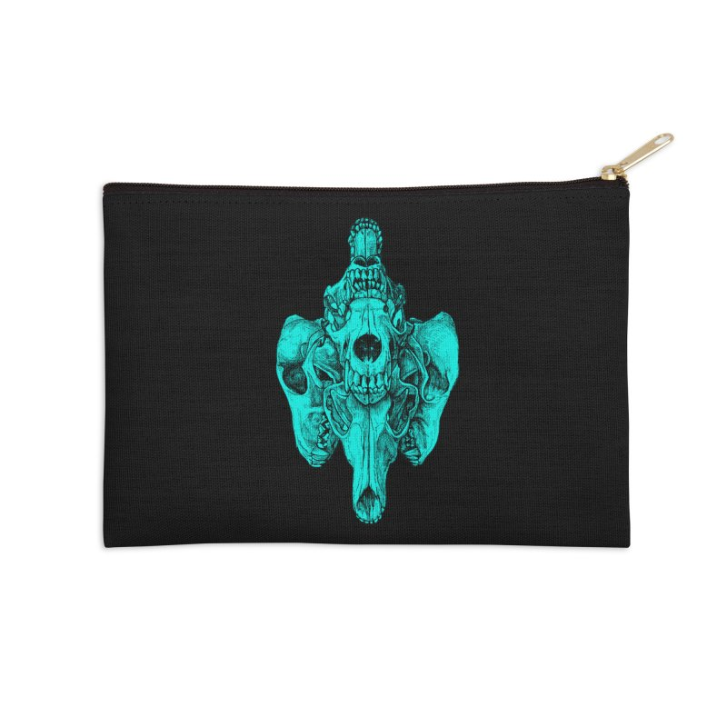 Cyan Coyote Skull Accessories Zip Pouch by Jason Castillo Illustration