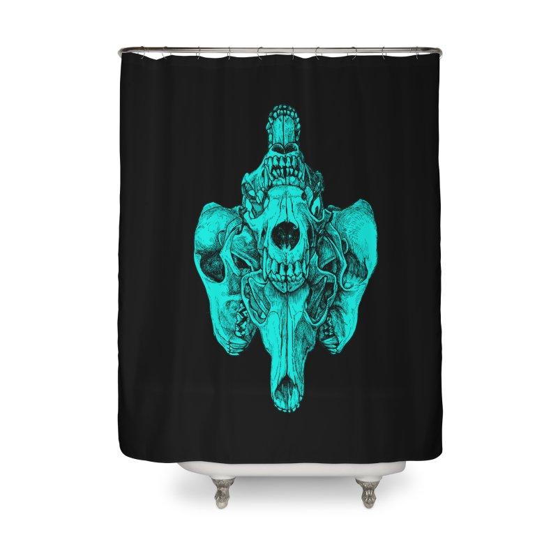 Cyan Coyote Skull Home Shower Curtain by Jason Castillo Illustration